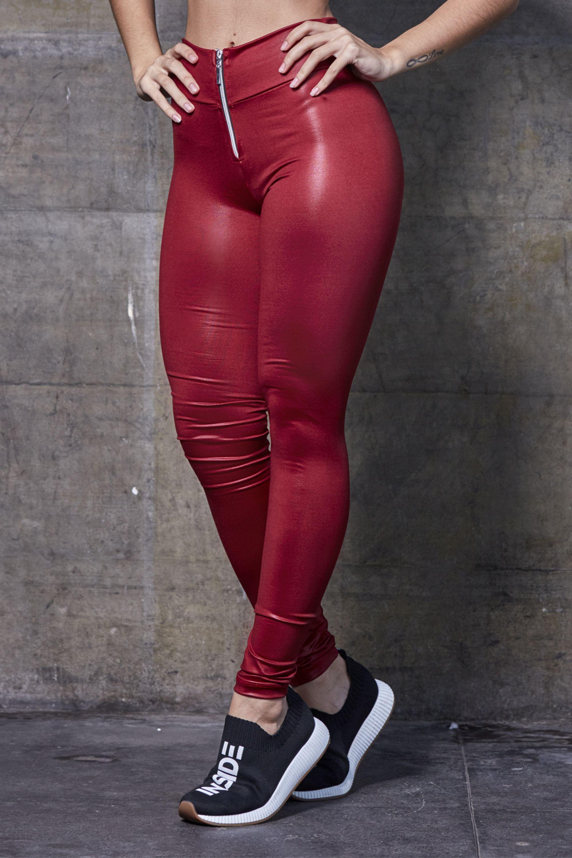 Calça Legging Cirrê Ziper - Vinho 2067ee0f460